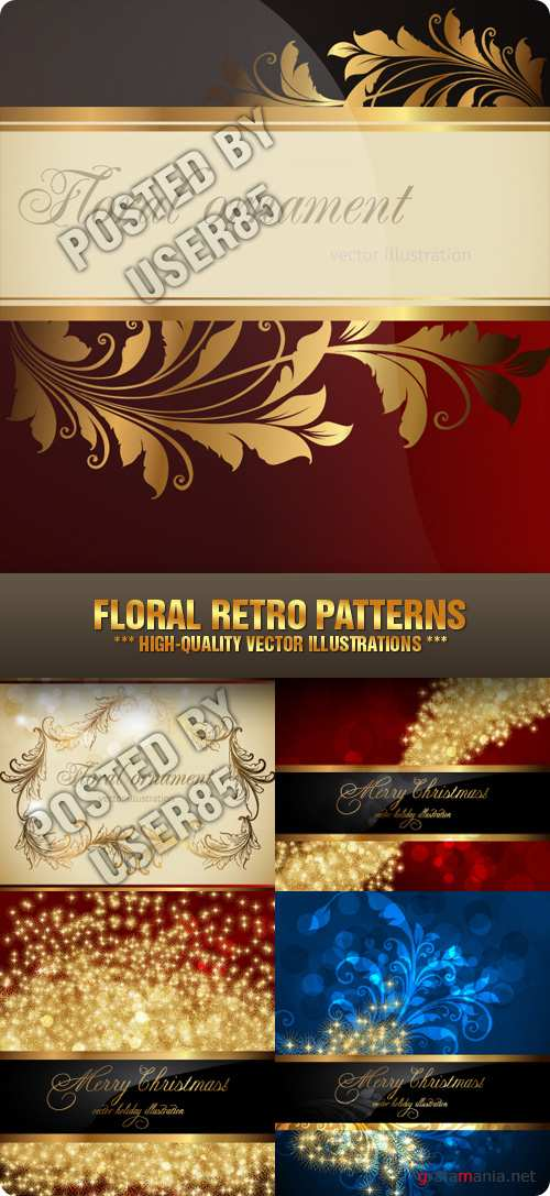 Stock Vector - Floral Retro Patterns