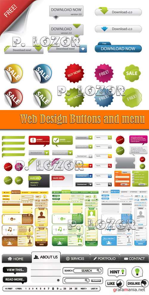 Web Design Buttons and menu