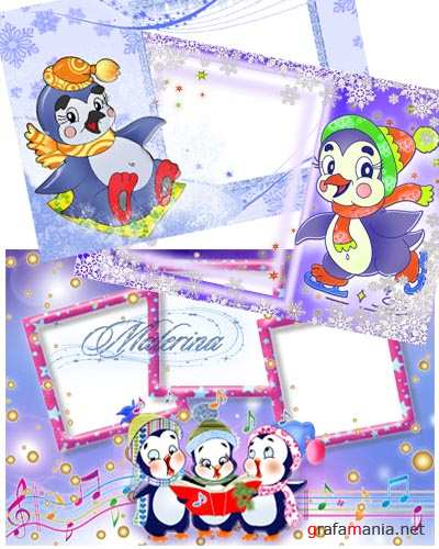 ������� ������  ����� ��� photoshop - �������� / Children's winter frame for photoshop - Penguins