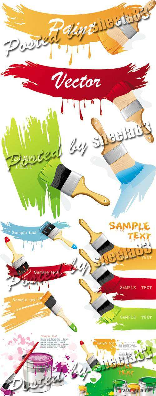 Color Paint & Paint Brushes Vector