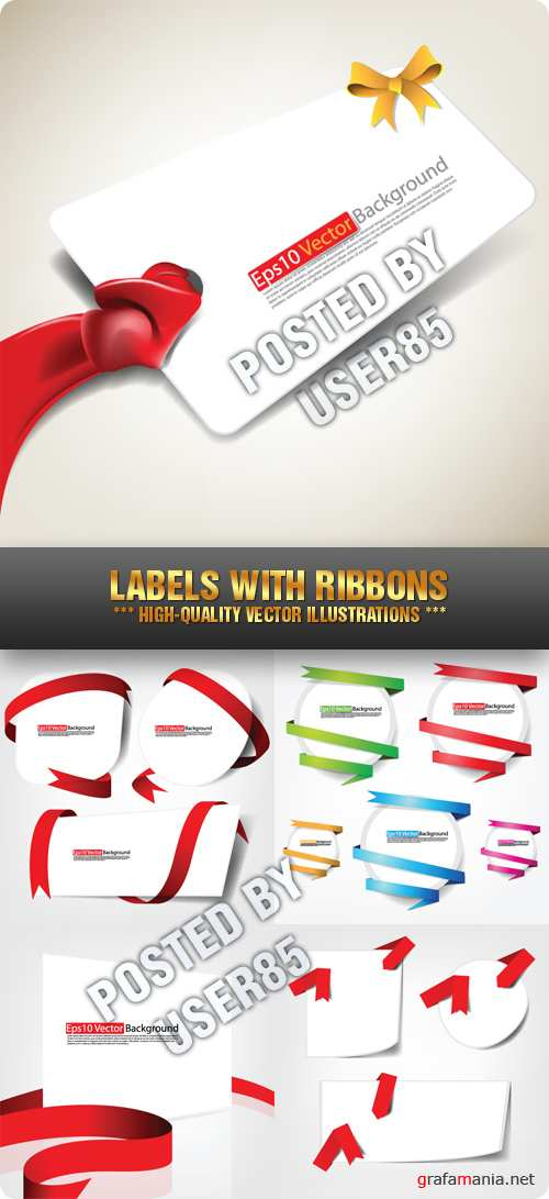 Stock Vector - Labels with Ribbons