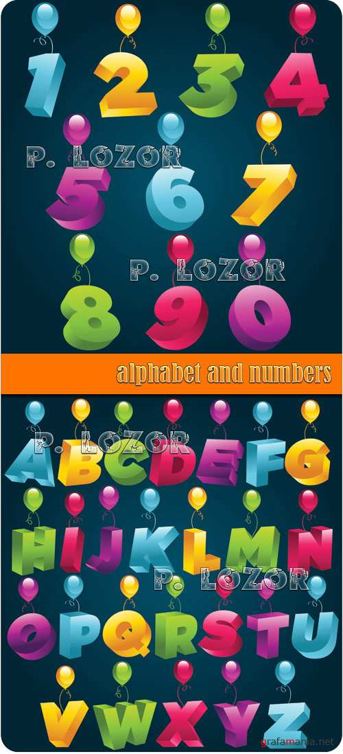 Balloons alphabet and numbers