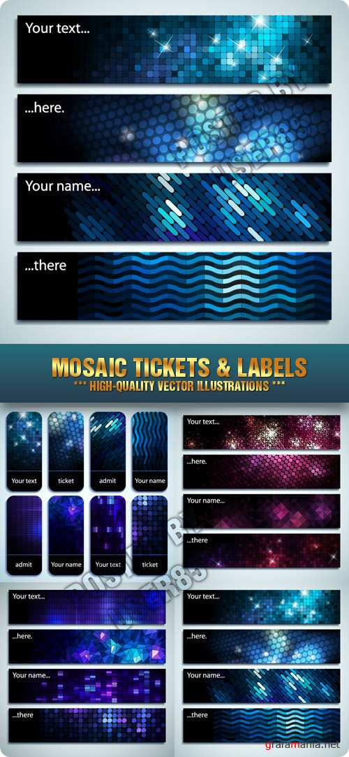 Stock Vecor - Mosaic Tickets & Labels