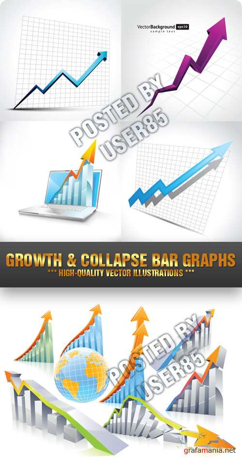 Stock Vector - Growth & Collapse Bar Graphs