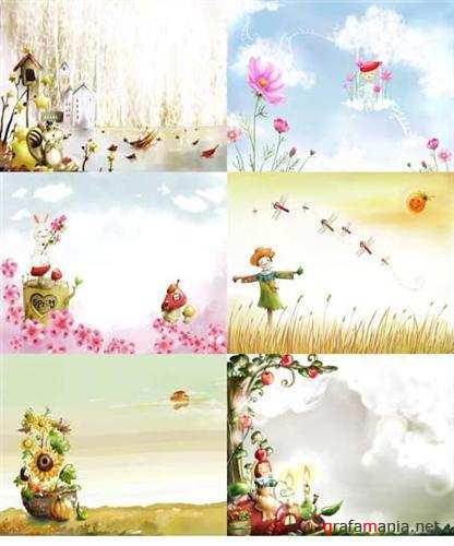 Children's spring backgrounds ( 7 PSD )