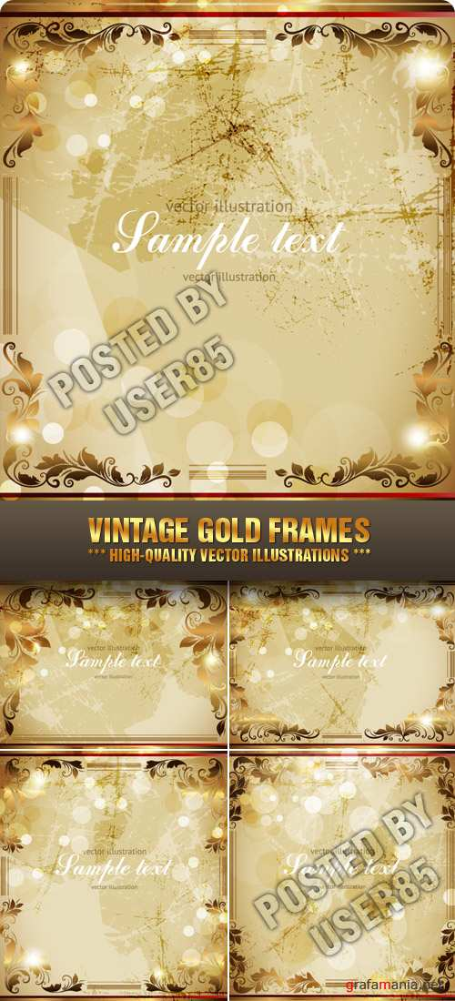 Stock Vector - Vintage Gold Frames