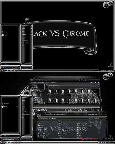 Black VS Chrome Glass Theme for Windows 7