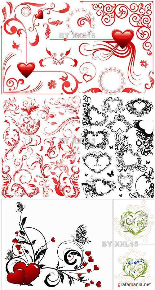 Valentine day floral vectors