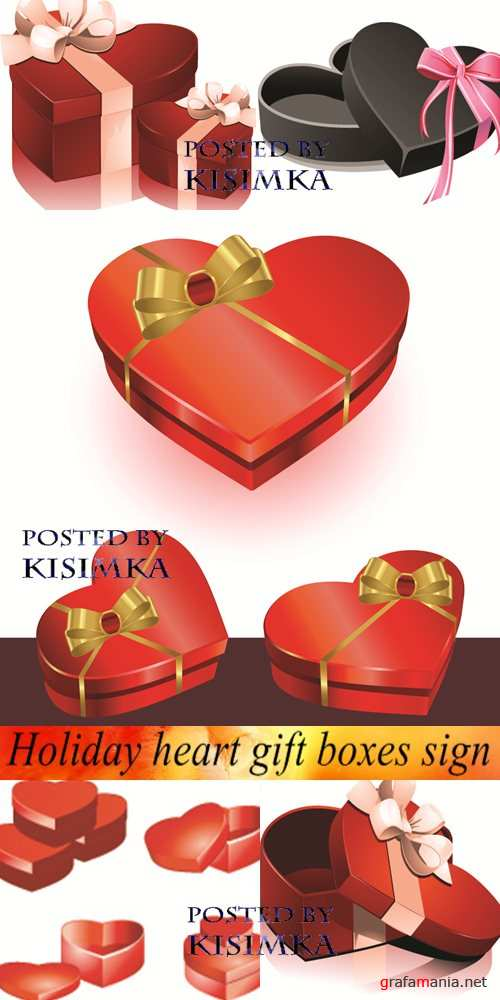 Stock: Holiday heart gift boxes sign  - Vector