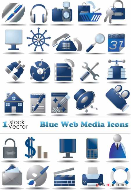 Blue Web Media Icons Vector