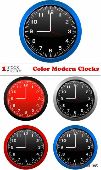 Color Modern Clocks Vector