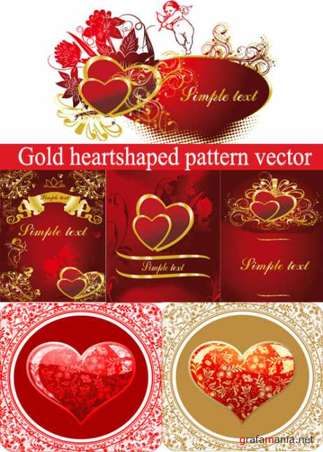 Gold heart shaped pattern vector