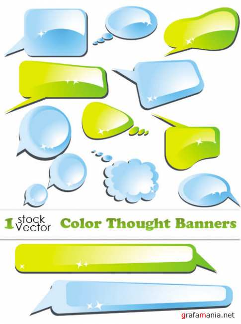 Color Thought Banners Vector