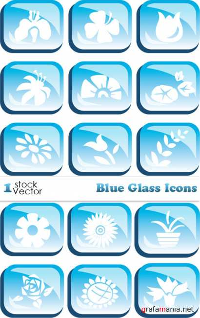 Blue Glass Icons Vector