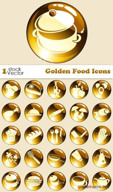 Golden Food Icons Vector
