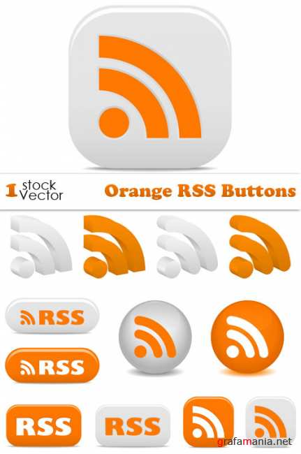 Orange RSS Buttons Vector
