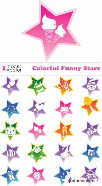 Colorful Funny Stars Vector