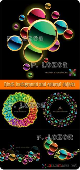 Black background and colored objects