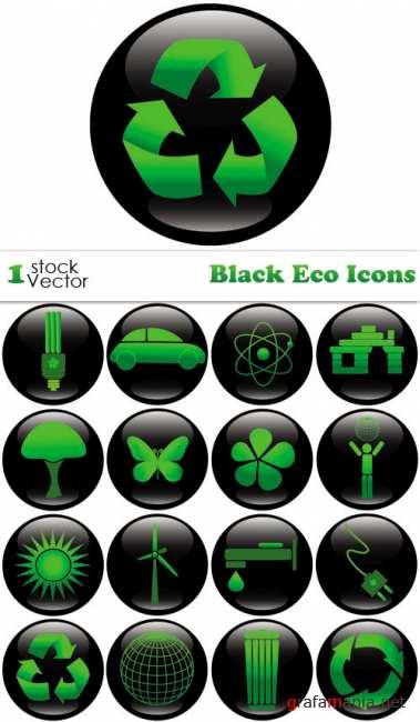 Black Eco Icons Vector
