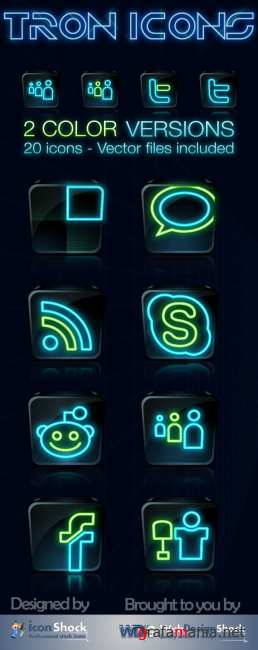 WDS Tron Legacy Social Icons