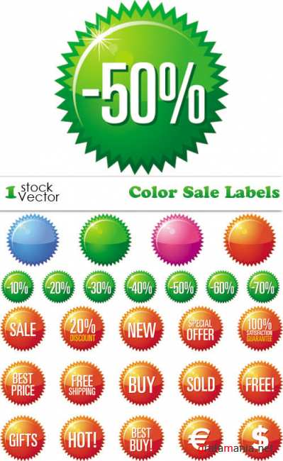 Color Sale Labels Vector