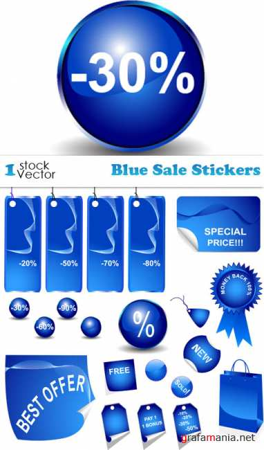 Blue Sale Stickers Vector