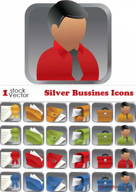 Silver Bussines Icons Vector