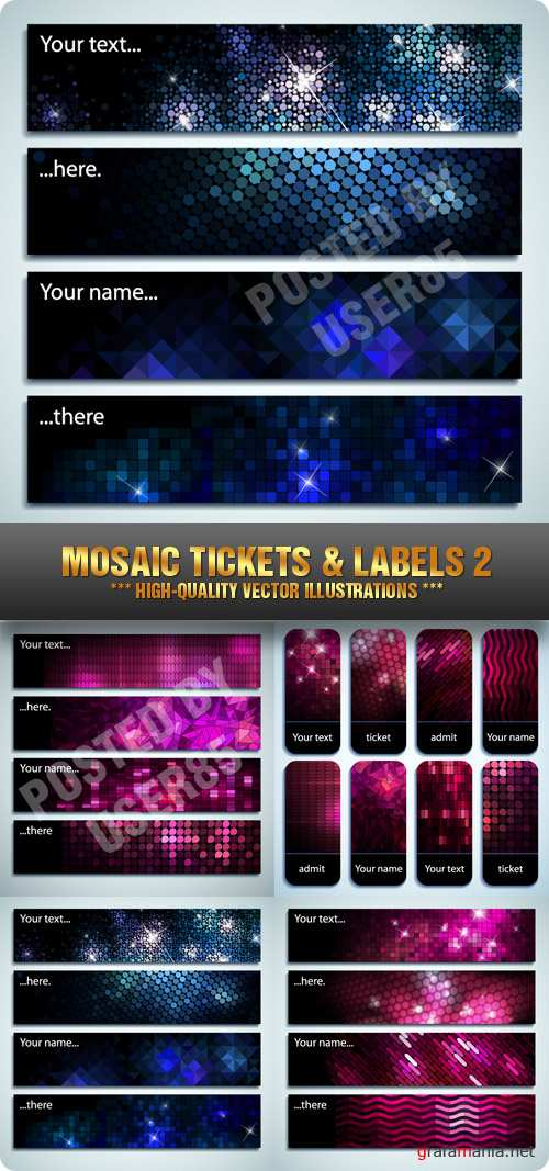 Stock Vector - Mosaic Tickets & Labels 2