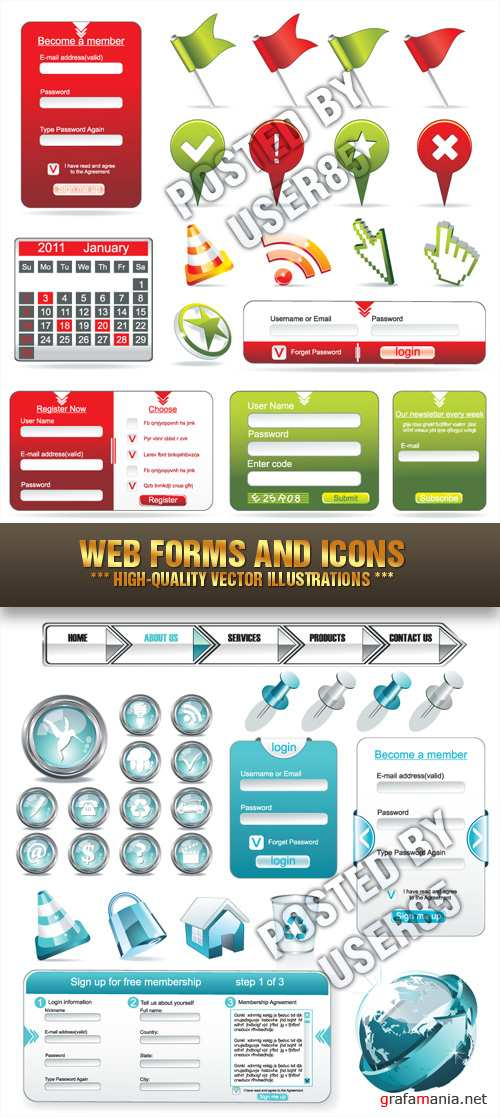 Stock Vector - Web Forms and Icons