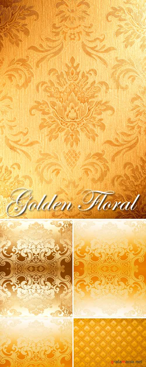 Stock Photo - Golden Floral Backgrounds