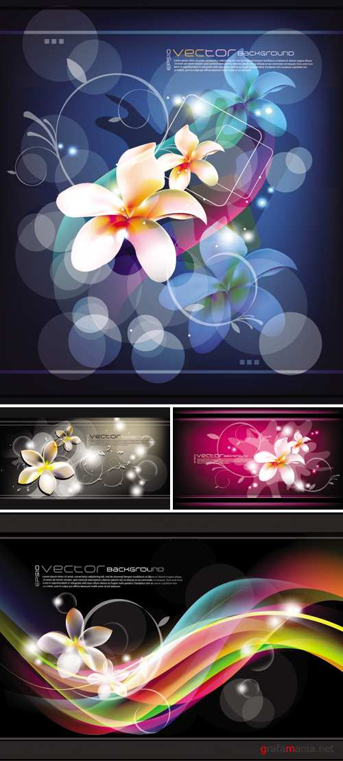 Abstract Backgrounds with Flowers Vector