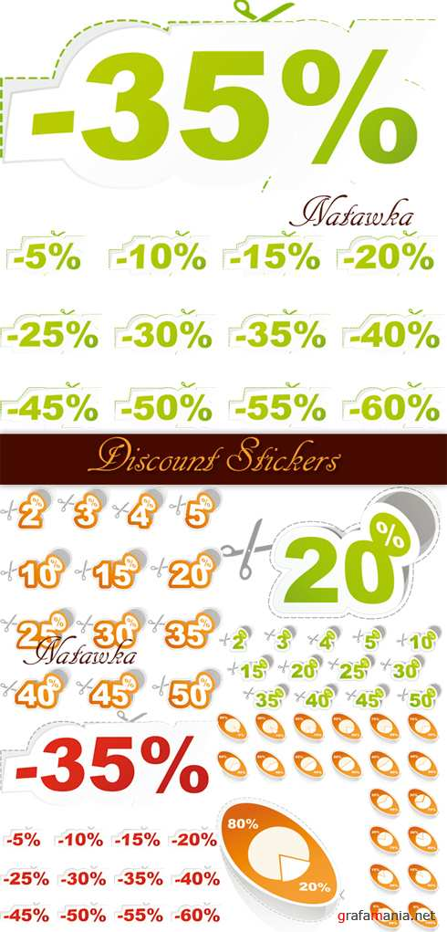 Discount Stickers - Stock Vectors