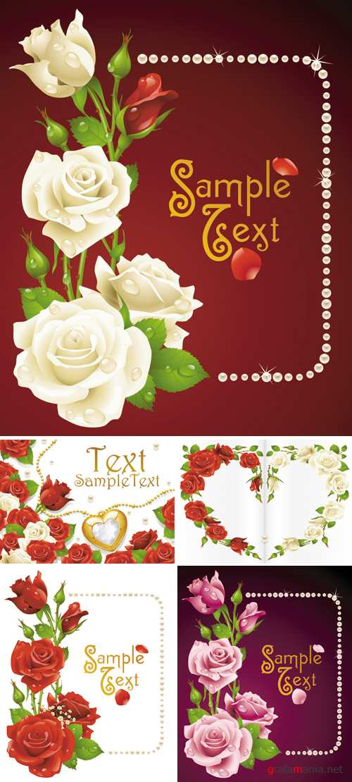 Roses Postcards Vector