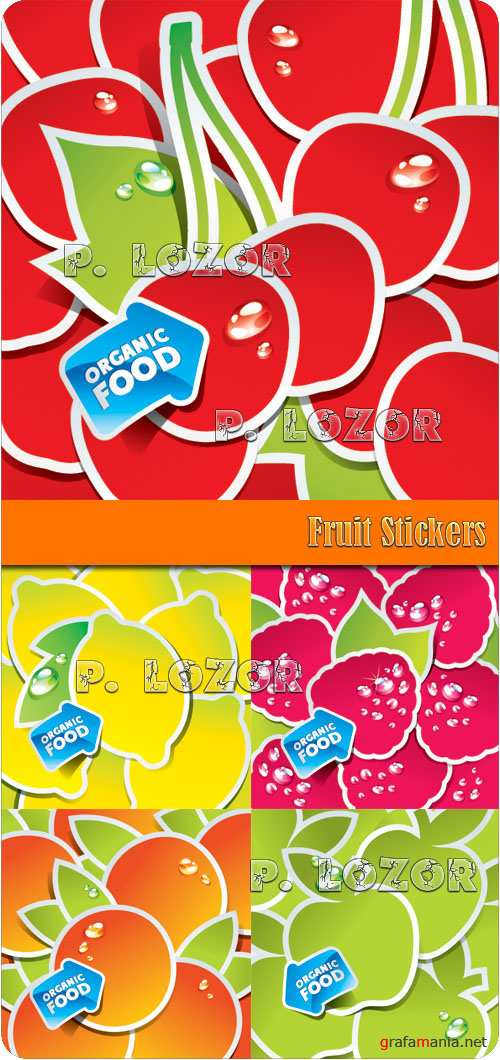 Fruit Stickers vector clipart