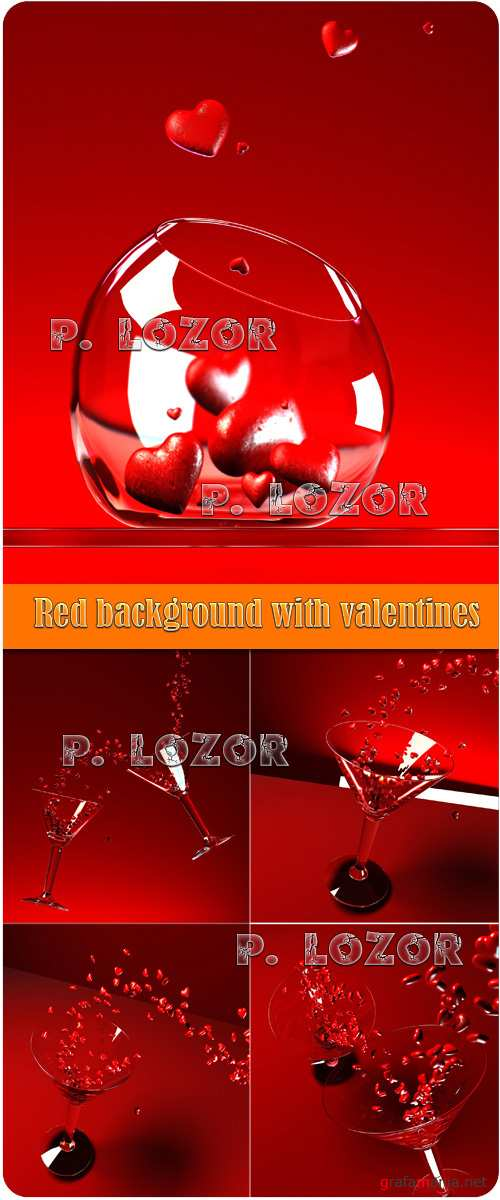 Red background with valentines