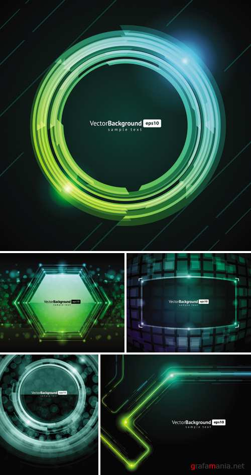 Green Techno Backgrounds Vector