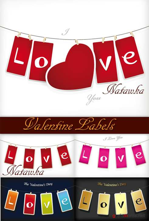 Valentine Labels - Stock Vectors