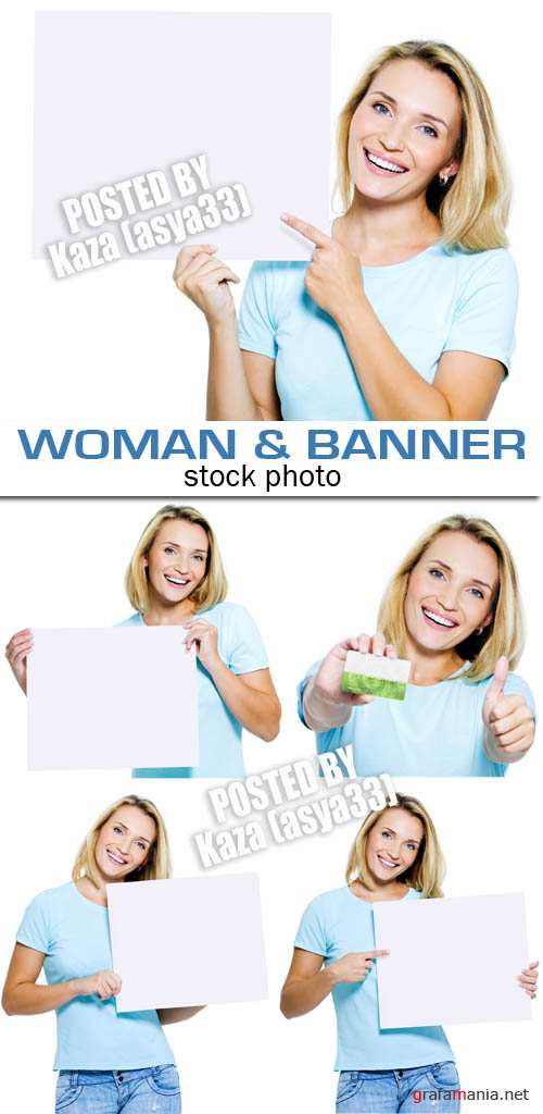 Woman & blank cards
