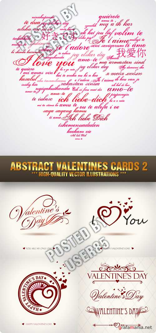 Stock Vector - Abstract Valentines Cards 2