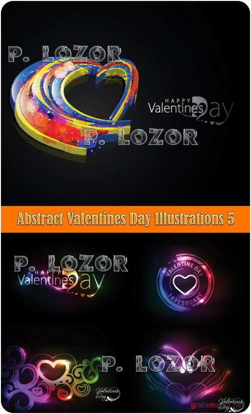 Abstract Valentines Day Illustrations 5 - Stock Vectors