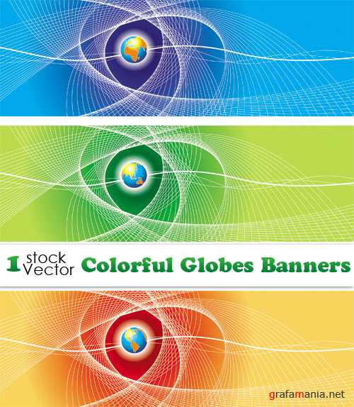 Colorful Globes Banners Vector