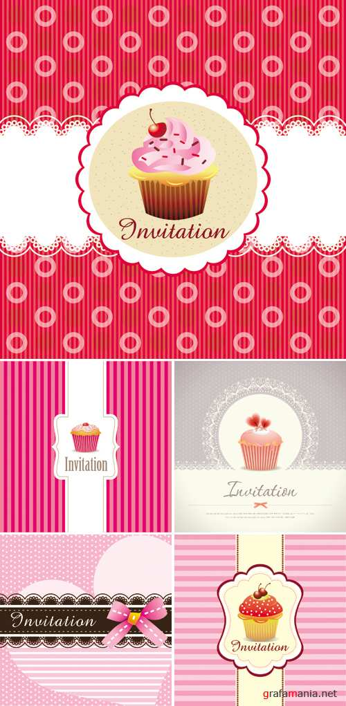 Cute Invitations Vector