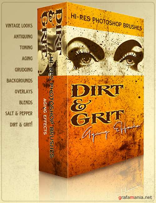 45 High-resolution Photoshop brushes of dirt and grit. Created by Ron Deviney.