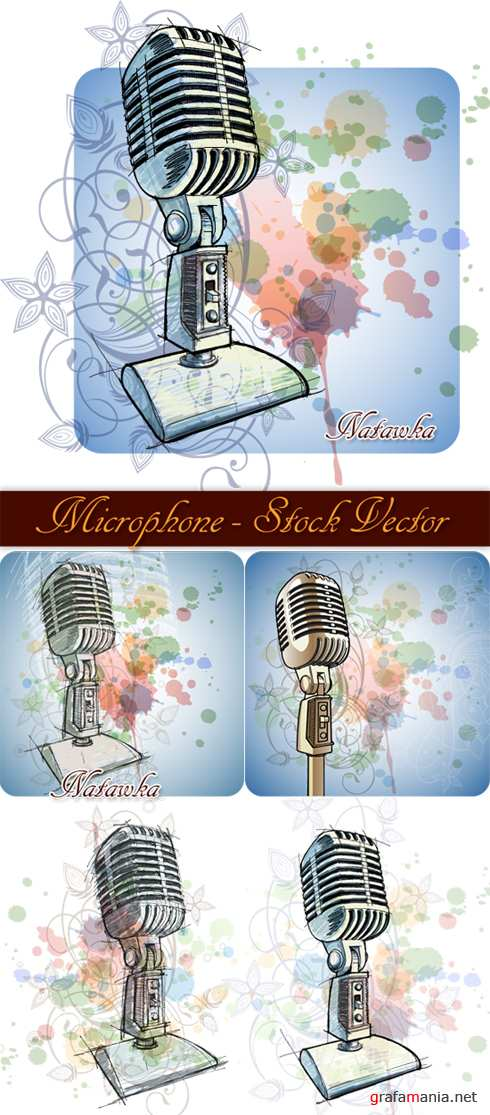 Microphone and Floral Ornament - Stock Vectors