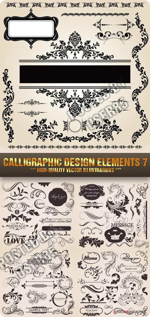 Stock Vector - Calligraphic Design Elements 7
