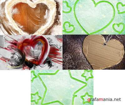 PSD Layered Pictures - Hearts, Star