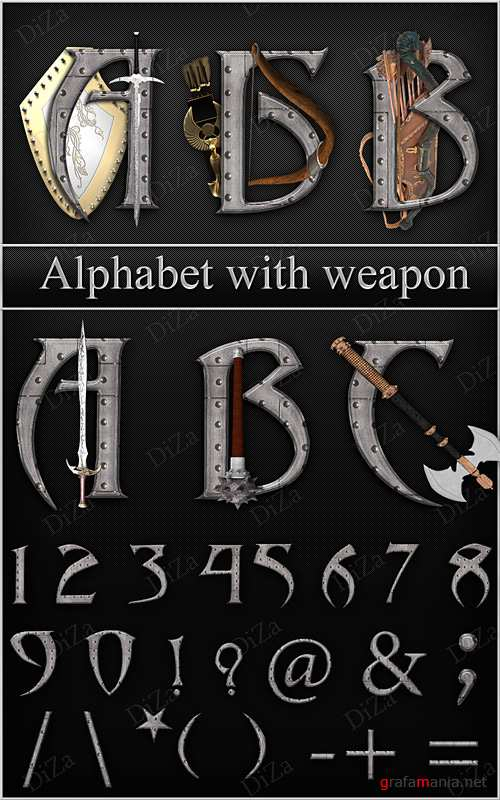 Alphabet with weapon