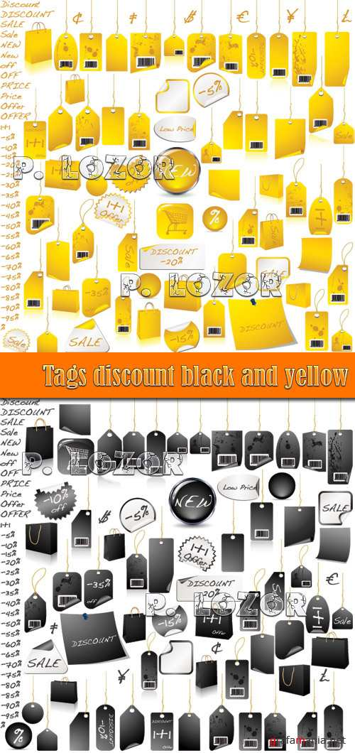 Tags discount black and yellow