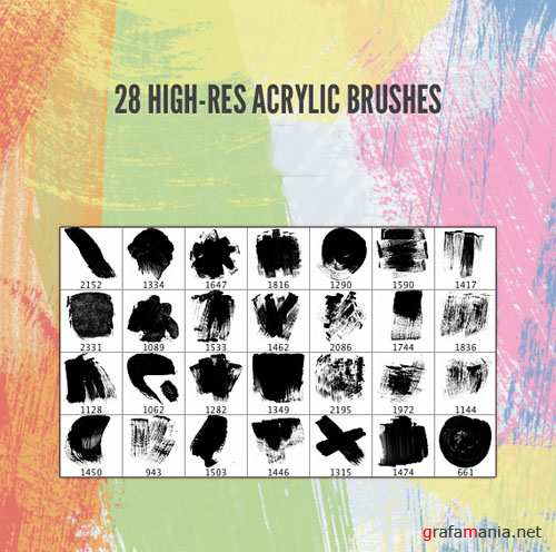 28 HQ acrylic brushes