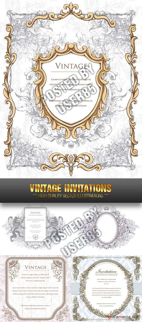 Stock Vector - Vintage Invitations